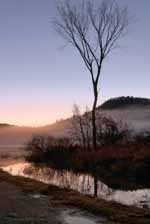 Boat Landing Sunset, Mist, Post Pond Backdrop
